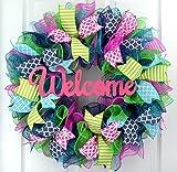 Everyday Door Wreath | Summer Spring Wreath | Outdoor Wreath | Pink Turquoise Navy Blue Green : P5