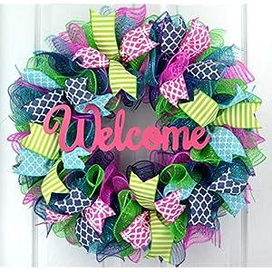 Everyday Door Wreath | Summer Spring Wreath | Outdoor Wreath | Pink Turquoise Navy Blue Green : P5 10