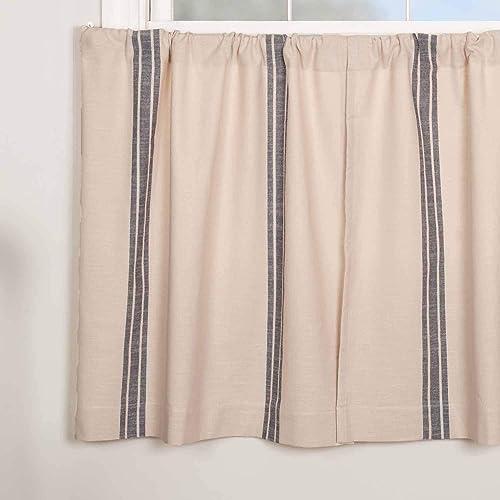 Market Place Blue Grain Sack Stripe Tier Curtains, Set of 2, 36 Long, Farmhouse Style Blue Natural Cream Caf Curtains