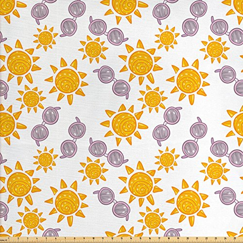 Sun Fabric by the Yard by Lunarable, Summer Season Illustration with Sunglasses Doodle Style Star Pattern, Decorative Fabric for Upholstery and Home Accents, Marigold Pale Pink Warm - Illustration Sunglass