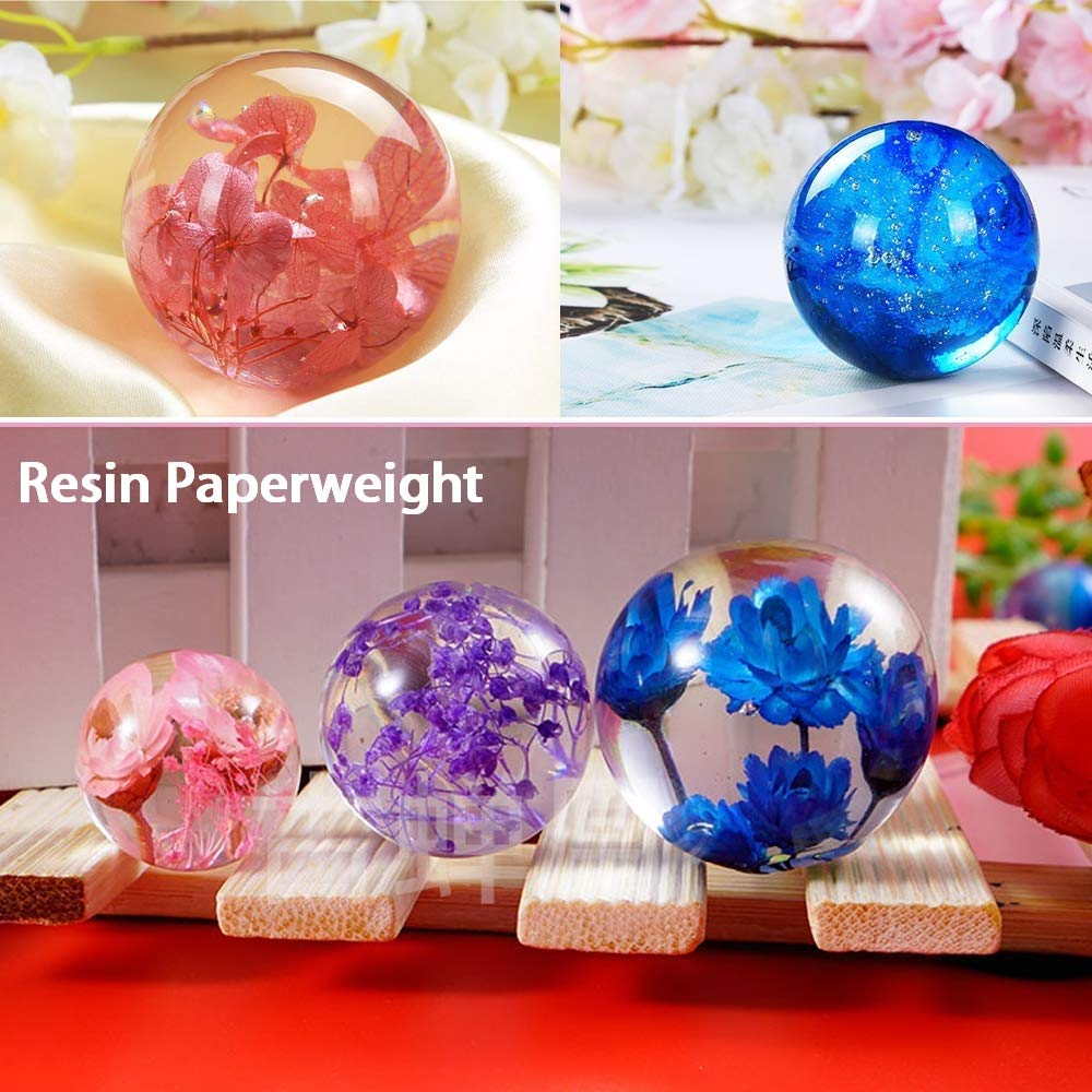 Epoxy Resin Silicone Molds Silicone Resin Molds Including Sphere,Cube Candle Soap 6 Pack Art Resin Molds for Casting Resin Paperweight Diamond Pyramid Stone with Mixing Cups /& Wood Sticks