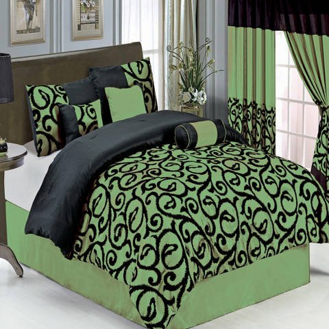 Luxurious KING Size 11 Piece Candice Sage Comforter Set with Comforter, Bed Skirt, Pillow Shams, Cushion, Breakfast Pillow, Neck Roll & BONUS 600TC 100% Egyptian Cotton Bed Sheet Set, Color Style Sage and Black