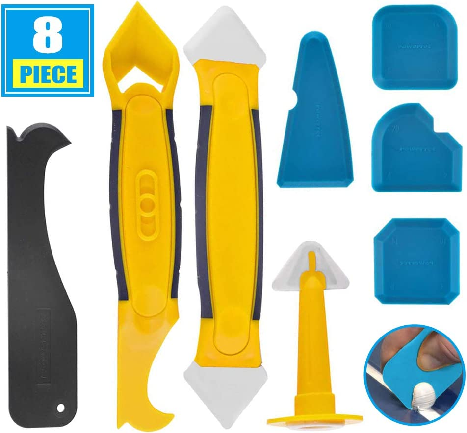 Kit de herramientas de calafateo de silicona, juego de removedor de sellador de 8 piezas con raspador / boquilla, herramienta de alisado de acabado de sellador de silicona para cocina de baño