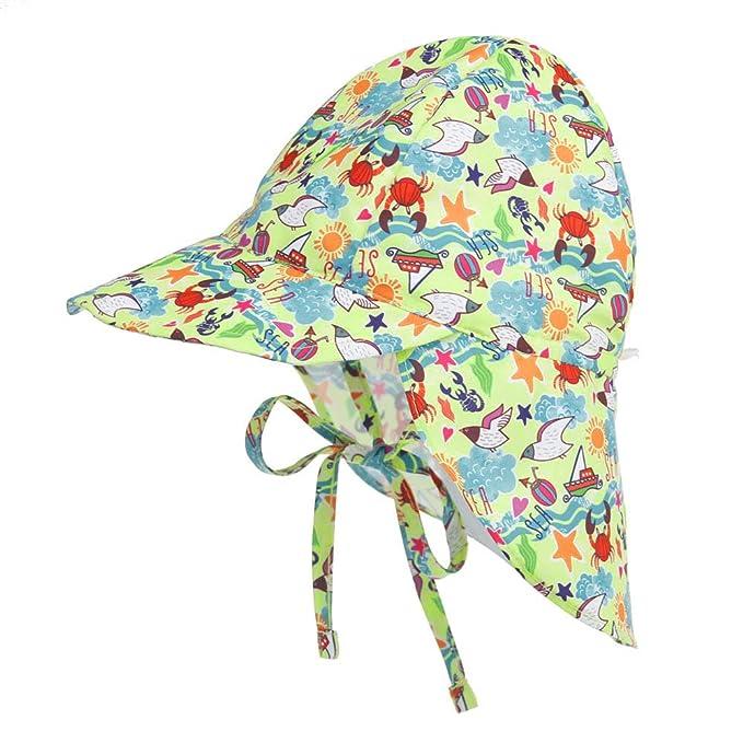 UPF per Neonato Cappello Estivo Regolabile per Bambini LACOFIA Berretto da Spiaggia Protezione Solare 50
