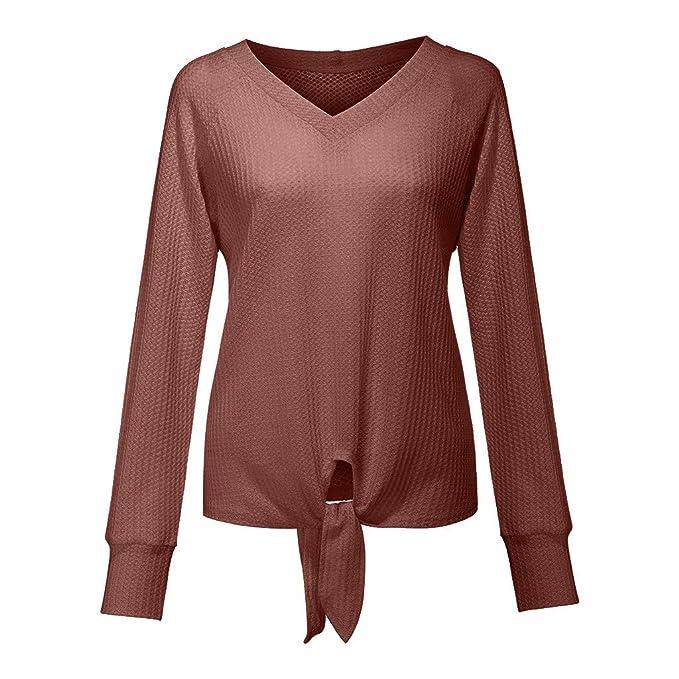 Cloudro ❤️ Suéter Suelto para Mujer, con Nudo de Corbata en la ...