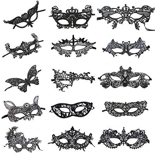 [Venetian Style Black Sexy Lace Masquerade Party Masks, Set of 15] (Black Lace Masquerade Masks)