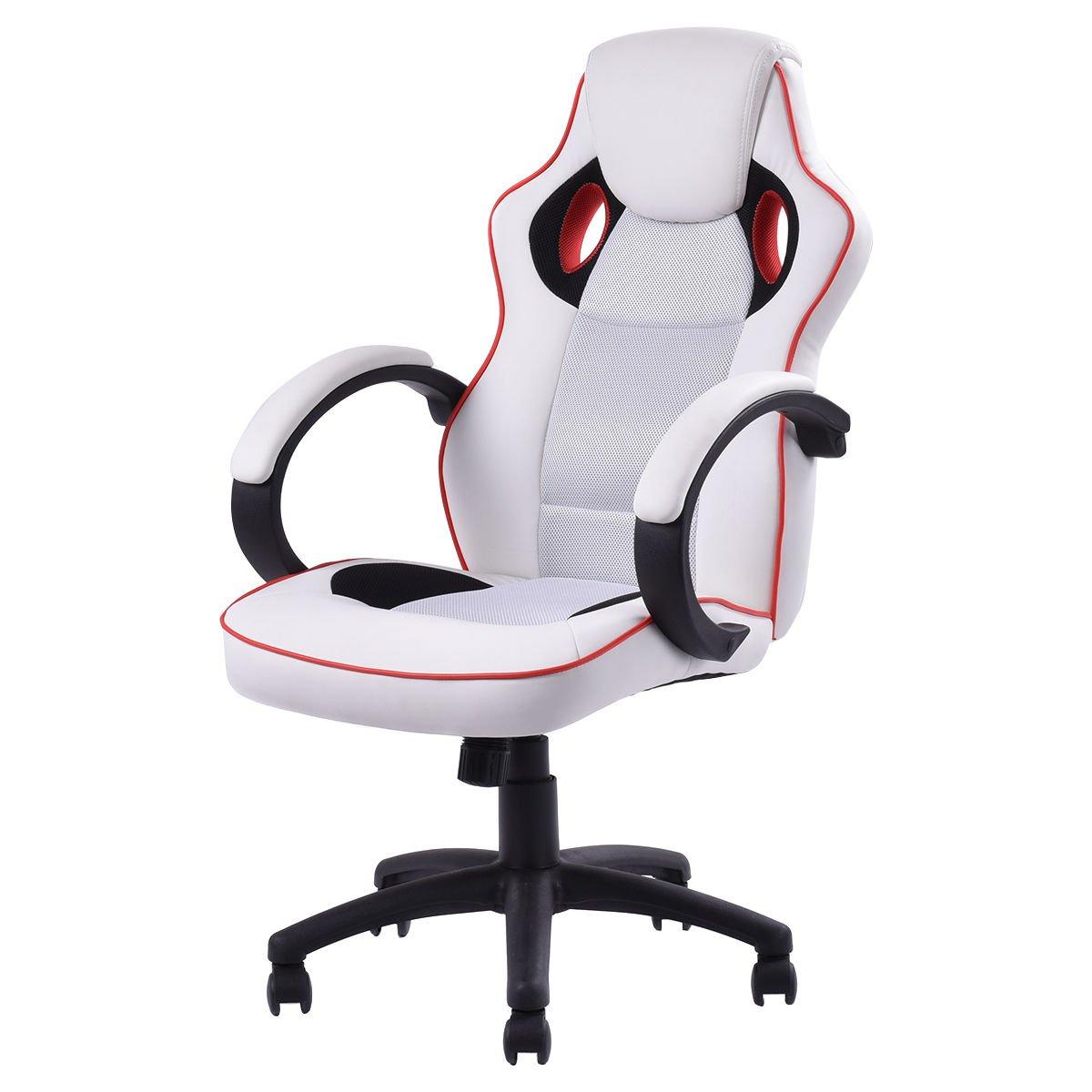 Banana game chair - Giantex Executive Swivel Gaming Chair High Back Sport Racing Style Ergonomic Adjustable Chair White