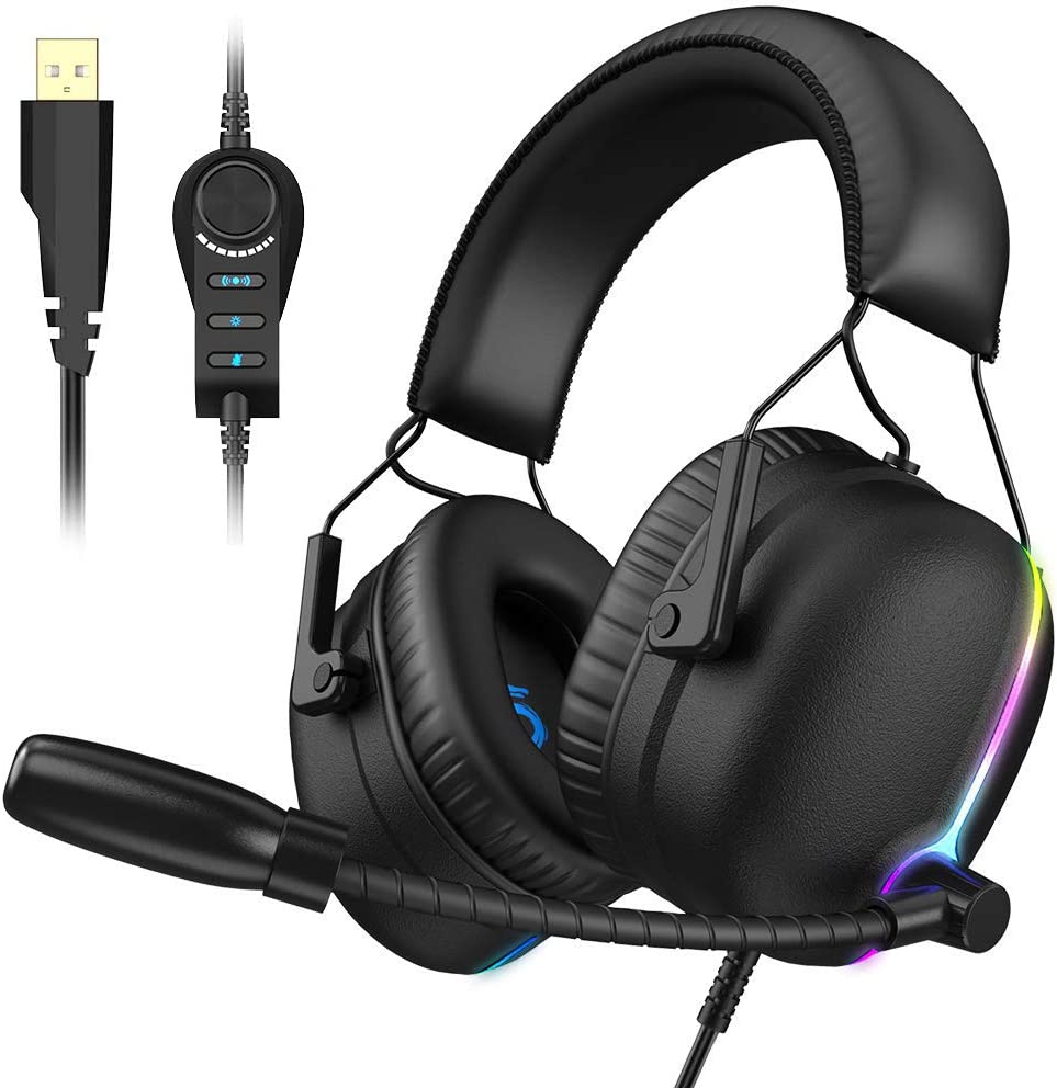 VersionTECH. 7.1 PS4 Gaming Headset,USB PC RGB LED Illumination Gamer Headphones with ENC Dual Noise Canceling Microphone,4D Sound (3D+Vibration),6