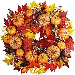 Fall Door Wreath 24 inch – Autumn Door Wreath Pumpkin Harvest Wreath Autumn Silk Maple Leaves Wreath Garland Attached Pumpkins, PineCones, Berries for Outdoor Display