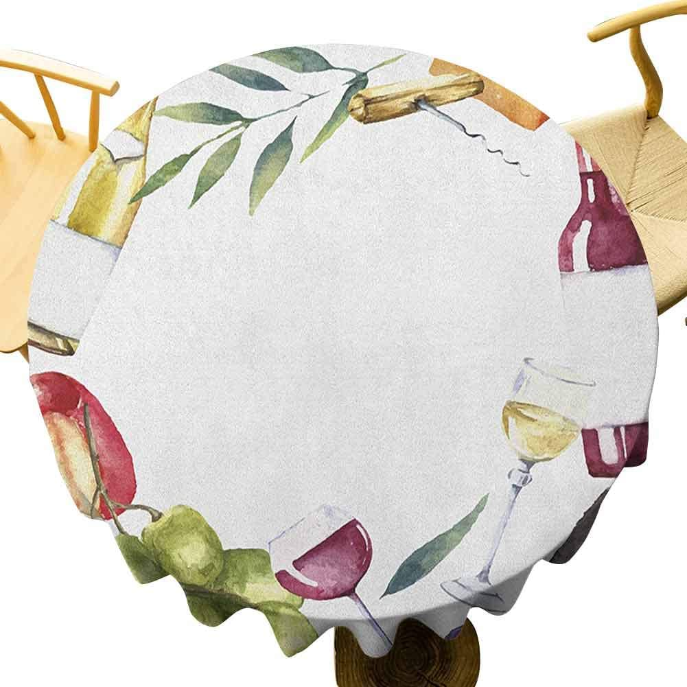 Wine Tablecloth - 50 Inch Round Table Cloth Decoration Round Frame with Hand Painted Food Objects Watercolor Wine Cheese Fruits Collection Decorated Kitchen Multicolor