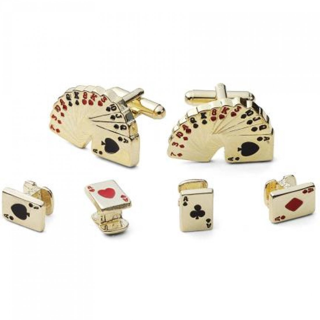 Playing Cards Tuxedo Studs and Cufflinks Gold Trim