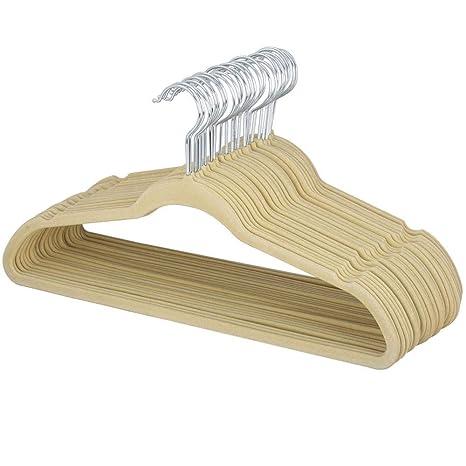 Yahee 100 unidades Perchas Traje de Terciopelo Antideslizante Percha (beige)