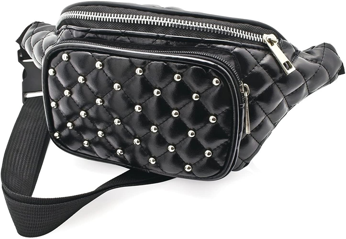 Black Faux Leather Padded Studded Bum Bag / Fanny Pack - Festivals ...