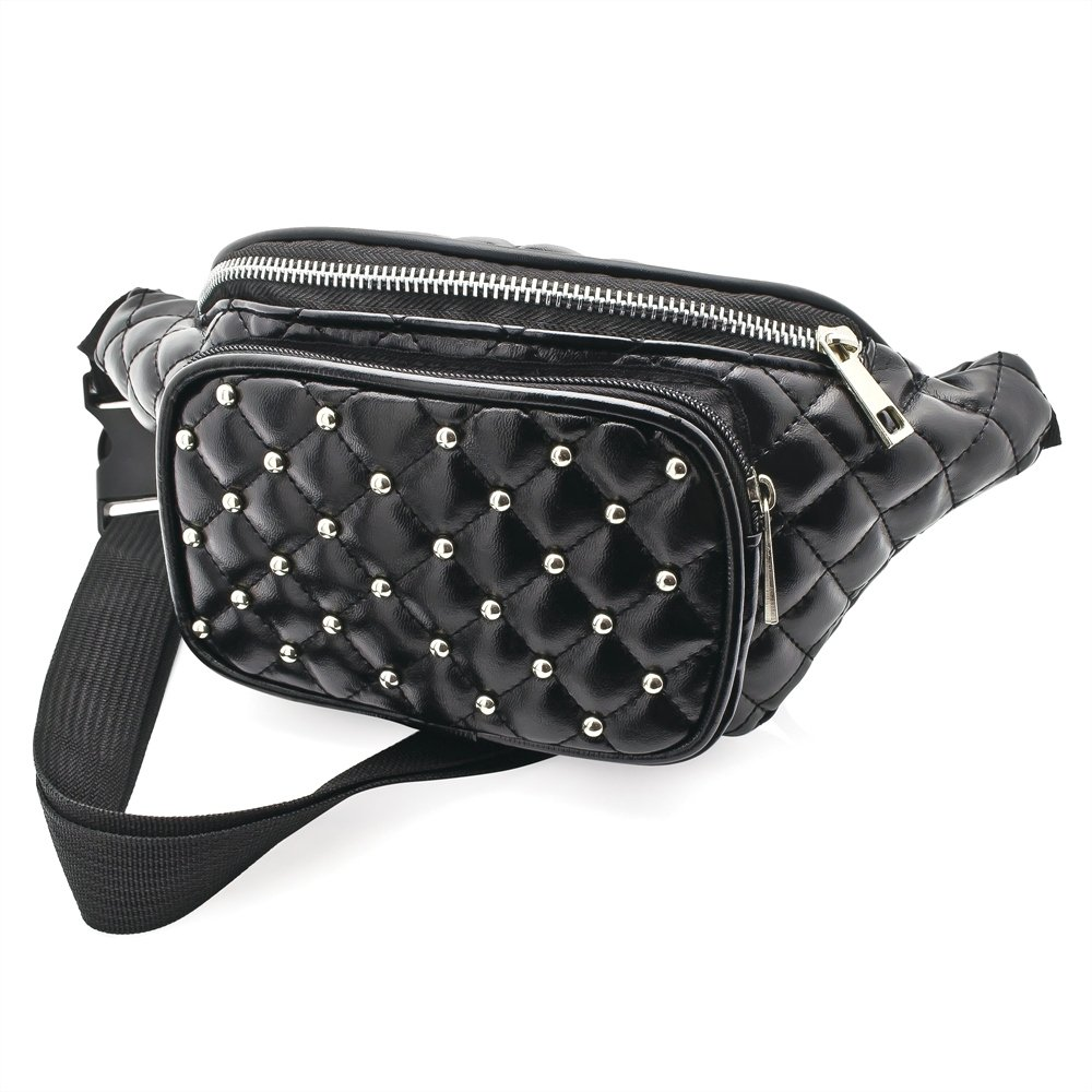 Black Faux Leather Padded Studded Bum Bag / Fanny Pack - Festivals /Club Wear/ Holiday Wear
