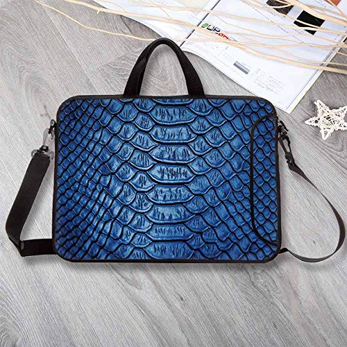 "(Animal Print Decor Waterproof Neoprene Laptop Bag,Colored Snake Skin Pattern Alligator Fancy Luxury Leather Clothing Artwork Home Decor Laptop Bag for Business Casual or School,13.8""L x 10.2""W x 0.8""H)"