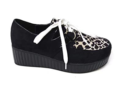 a57437321b250 SKO'S Womens Ladies Flat Platform Wedge lace up Goth Punk Creepers Shoes  Boots Size (UK3