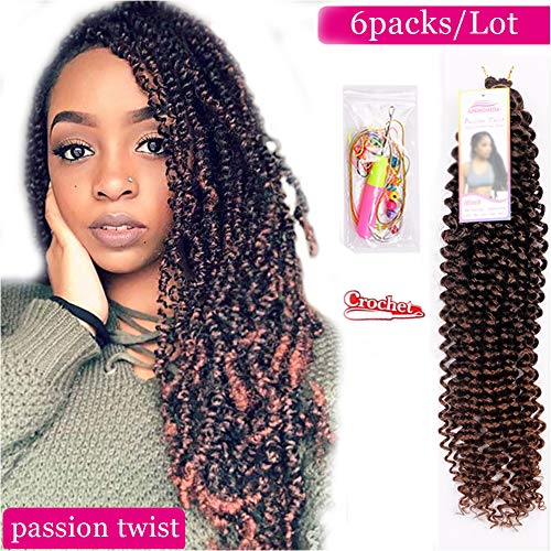 6Pcs Passion Twist Ombre Brown Synthetic Hair for Black Women Andromeda 18 Inch Soft Long Braids Passion Twist Crochet Braiding Hair Extensions with 5 Free Gift (1B/T30)