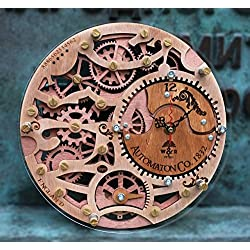 Skeleton Automaton 1832 HANDCRAFTED wall clock by WOODANDROOT transparent steampunk wall clock, unique, personalized gifts, anniversary gift, large wall clock, home decor