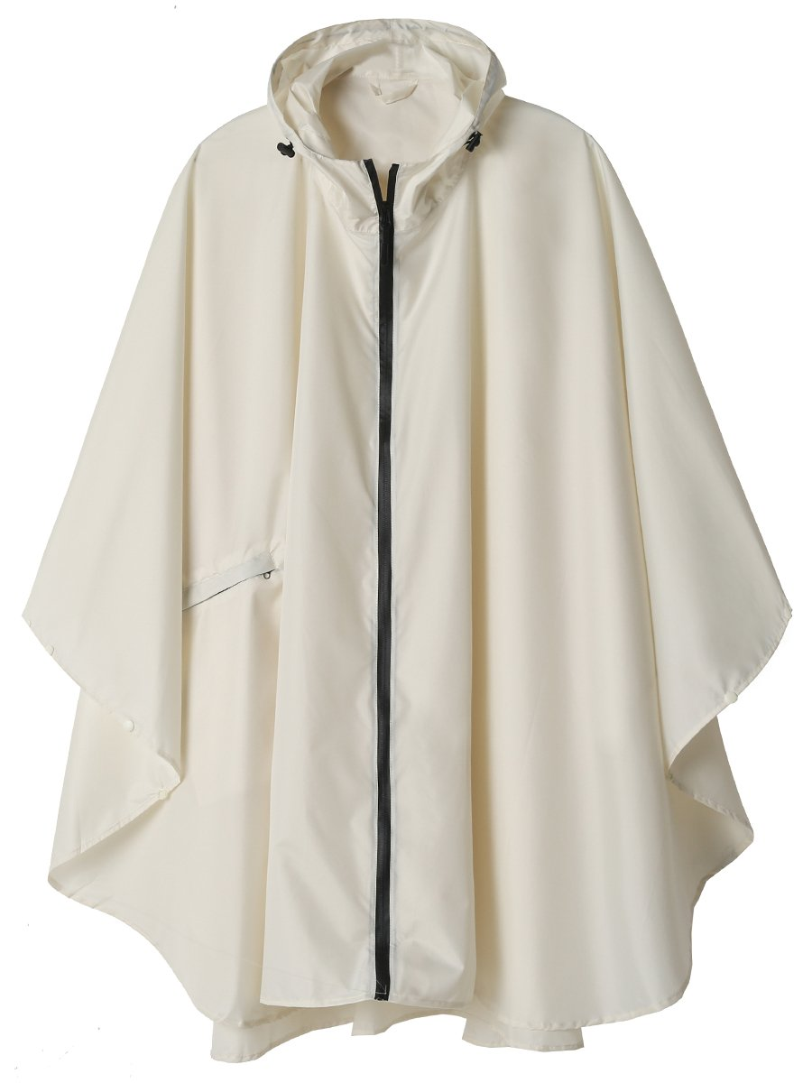 Rain Poncho Jacket Coat for Adults Hooded Waterproof with Zipper Outdoor (Creamy-White)