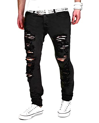 Minetom Homme Skinny Trou Biker Jeans Straight Fit Déchiré Styles Destroyed  Denim Slim Fit Serré Pantalon: Amazon.fr: Vêtements Et Accessoires