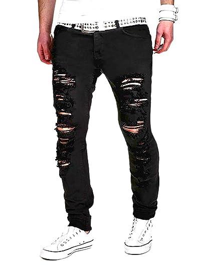 Minetom Sommer Herren Mode Casual Lange Jeans Hose Straight Slim Fit Destroyed Zerrissen Jeans mit Taschen Freizeithosen