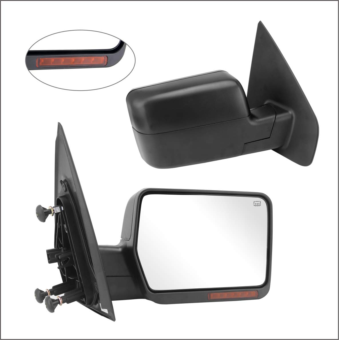 POWER HEATED,W//AMBER SIGNAL,BLACK,RIGHT Perfit Zone Towing Mirrors Replacement Fit for 2004-2006 FORD F150
