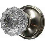Regency Fluted Glass Door Knob With Victorian Plate Rosettes In Brushed  Nickel (Passage Hall /