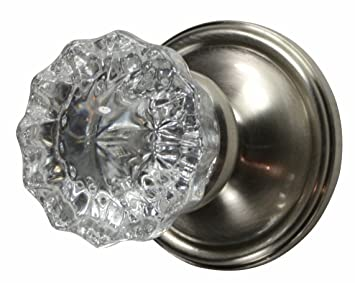 Privacy Locking Set   Crystal Regency Fluted Door Knob With Victorian Plate  Rosette In Brushed Nickel