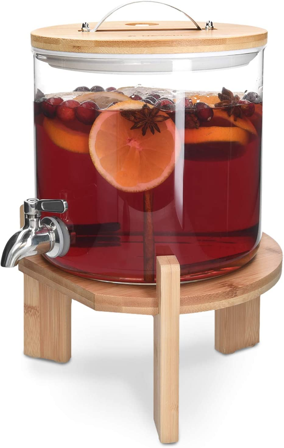 Navaris Beverage Dispenser with Stand - 1.3 Gallon (5L) Glass Drink Dispenser with Spigot, Lid, Wood Stand for Hot or Cold Drinks, Ice Water, Parties