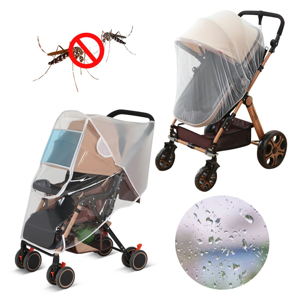 LEMESO Stroller Rain Cover Universal + Baby Mosquito Net Weather Shields with Ventilation Design for Travel Outdoor - Protect Baby Friendly - Adjustable Use and Carry
