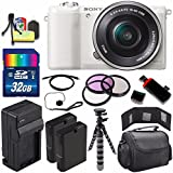 Sony Alpha a5100 Mirrorless Digital Camera with 16-50mm Lens (White) + Battery + Charger + 32GB Bundle 5 - International Version (No Warranty)