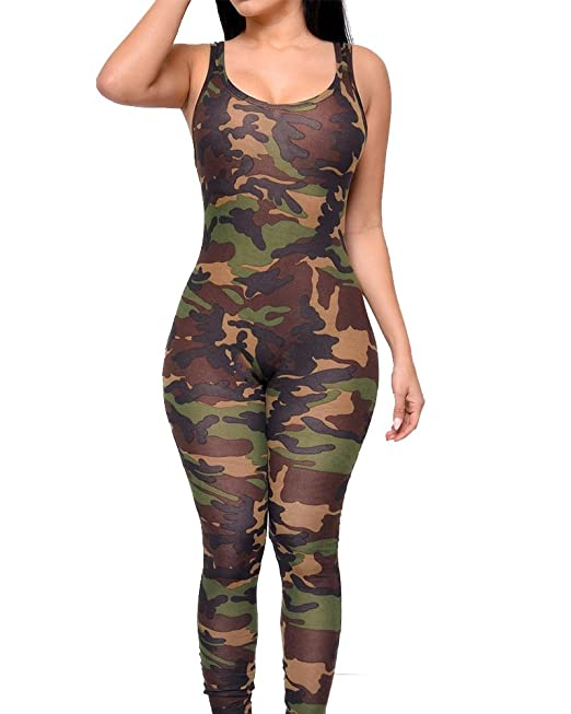 60dd0dc68024 Kasen Mujeres Sin Mangas Mono Camuflaje Militar Impresión Jumpsuit: Amazon.es:  Ropa y accesorios