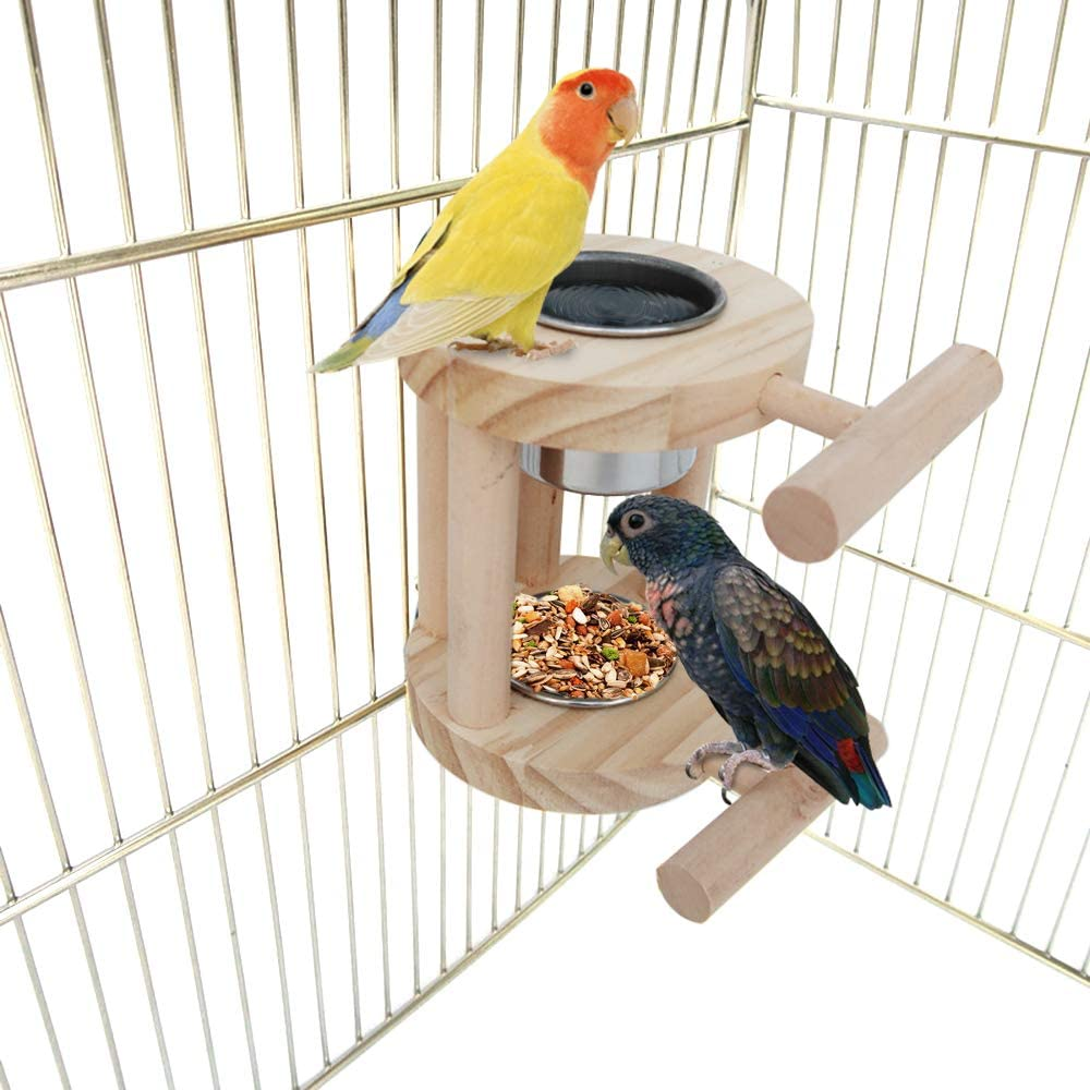 Bird Wooden Perch Stand with Double Feeding Stainless Steel Cups, Bird Cage Food Water Feeding Bowls for Parrot Macaw African Greys Budgies Parakeet Cockatiels Conure Lovebirds Finch Pigeon