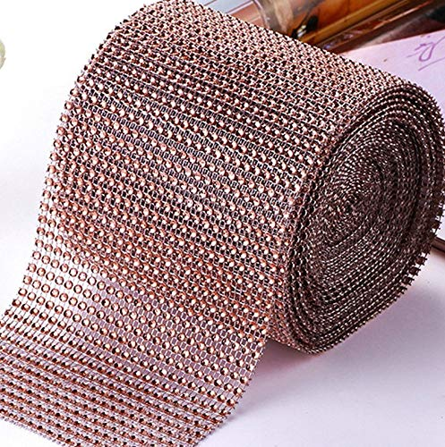 Rhinestone Diamond Ribbon, Southlight Silver Bling Diamond Wrap Ribbon for Event Decorations, Wedding Cake, Bridal & Party Decorations Acrylic Bling Rhinestone Roll(1 Roll, 30Ft,10 Yards)(Glod)