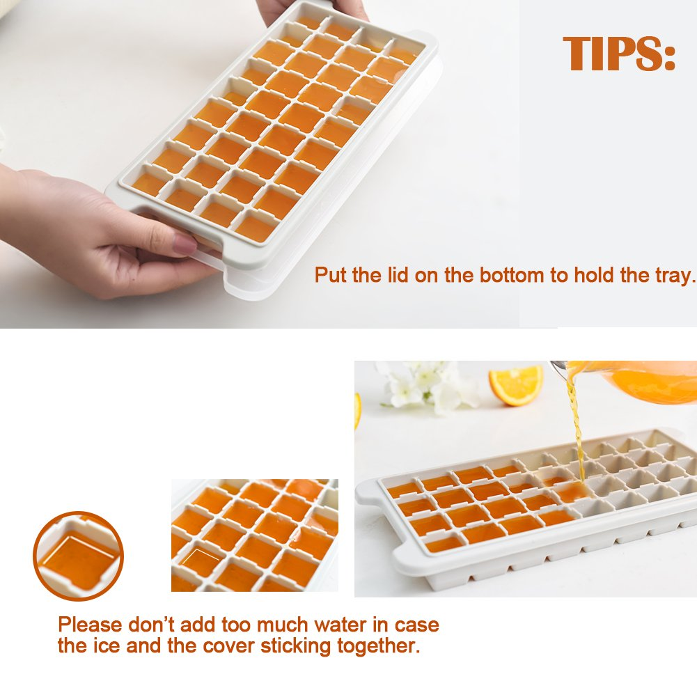 Silicone Ice Trays with Lid,Easy Release Ice Maker 2 Pack with Clear Cover,72 Flexible Ice Mold for Whiskey Beer by Marbrasse Wine
