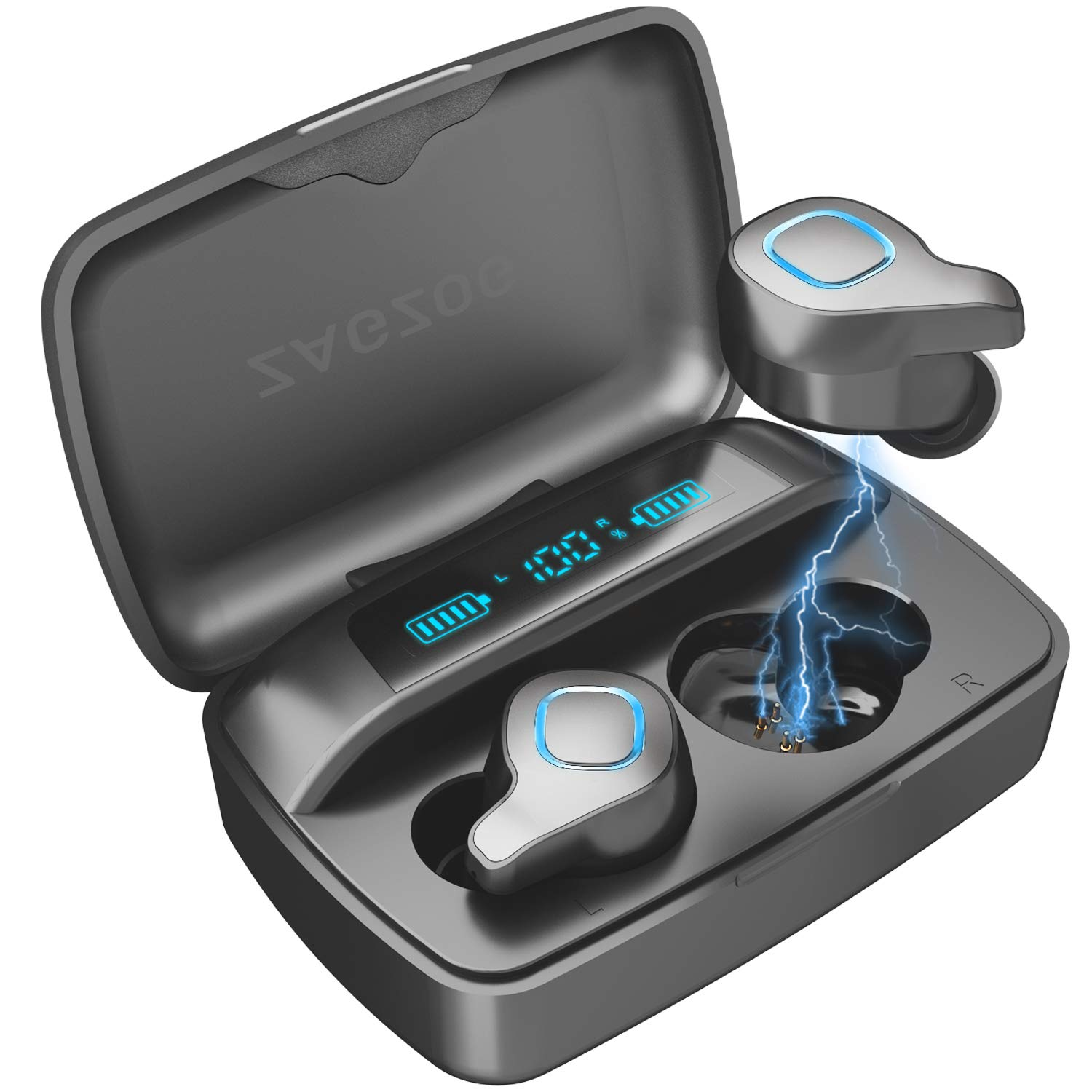 Zagzog Wireless Earbuds, Bluetooth 5.0 Headphones with Charging Case LED Battery Display 150H Playtime in-Ear Bluetooth Headset Built-in Mic IPX7 Waterproof True Wireless Earbuds for Work Sports