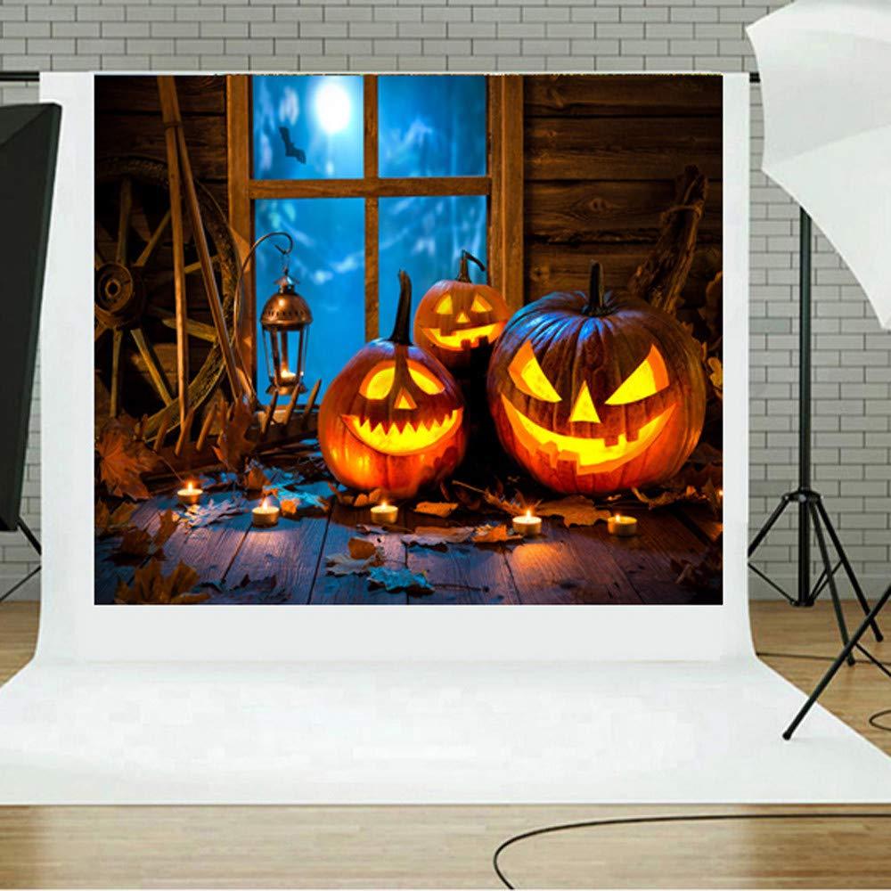 Sikye Halloween Backdrops, Pumpkin 5x3FT Lantern Photography Studio Vinyl Fabric Backdrop,150×90cm (D)