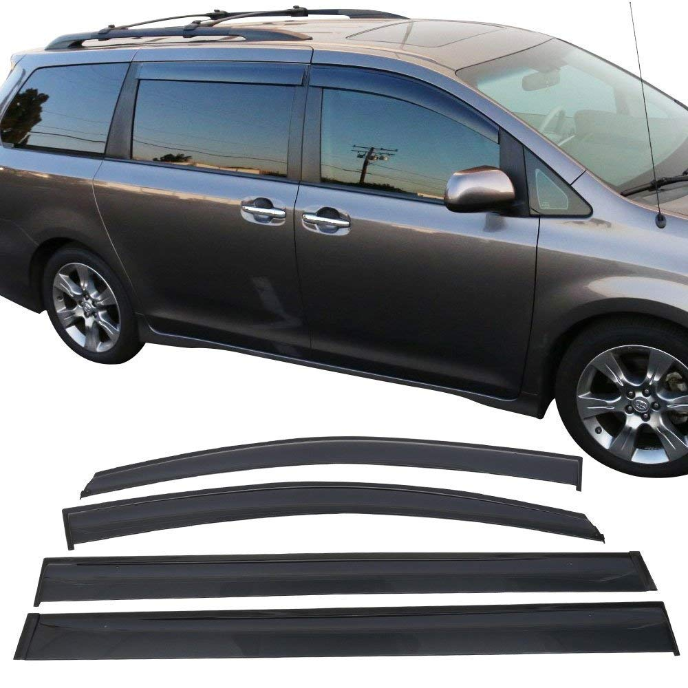 2011-2018 Toyota Sienna Window Visor Dark Smoke Ventvisor Window Deflector Tape-On Rain Guard 4 PCS 2011 2012 2013 2014 2015 2016 2017 2018 Sienna as accessories