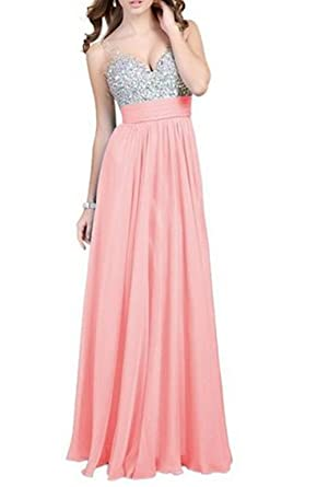 YINHAN Womens Sexy V-neck Long Evening Dresses Beading Chiffon Bridal Prom Gown Pink M