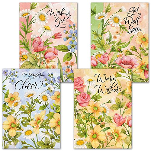 Get Cards Wishes Well (Watercolor Garden Get Well Greeting Cards - Set of 8 (4 designs) Large 5 x 7, Sentiments Inside, Get Well Soon Cards, Get Well Wishes)