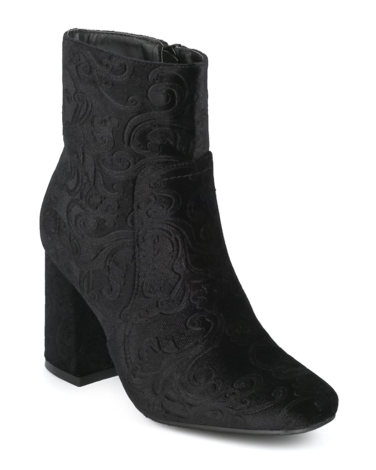 Women Embossed Chunky Heel Ankle Heel Bootie - Casual Dressy Versatile Everyday Boot - HE77 by Refresh Collection