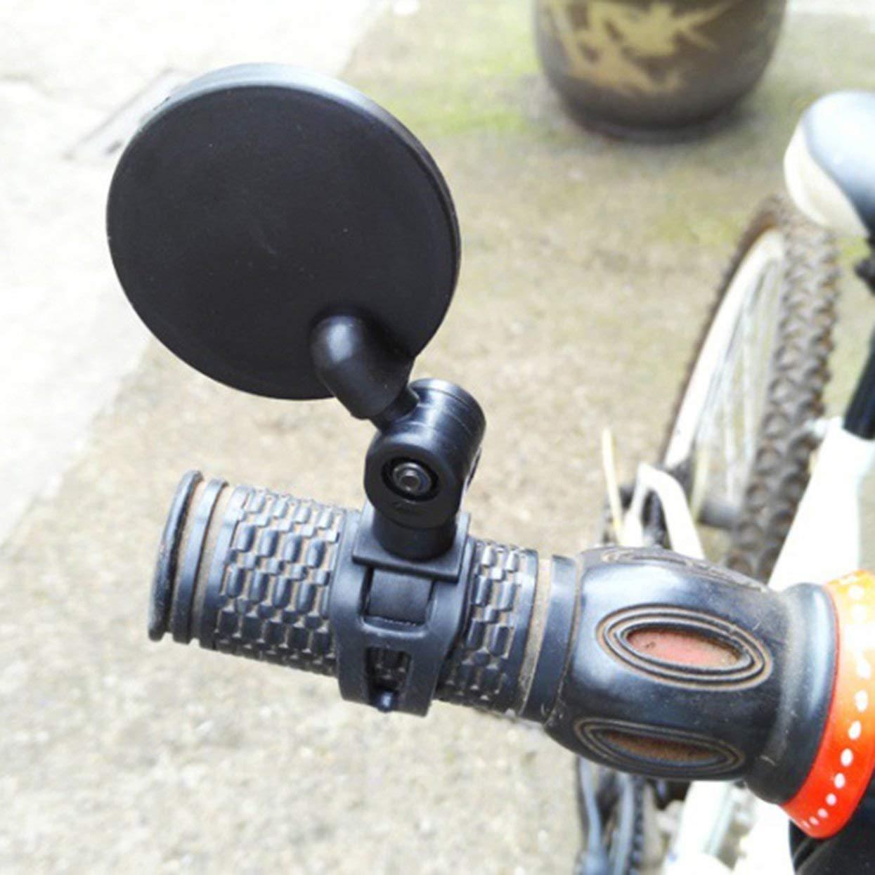 nero Piccolo specchietto retrovisore tondo per manico in mountain bike e silicone
