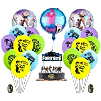 Fortnite Video Game Party Supplies Happy Birthday Cake Banners Topper Favors Foil Latex Balloons Video Gaming Party Theme Decorations Supply Kit for Adults, Teens Boys, Girls and Kids