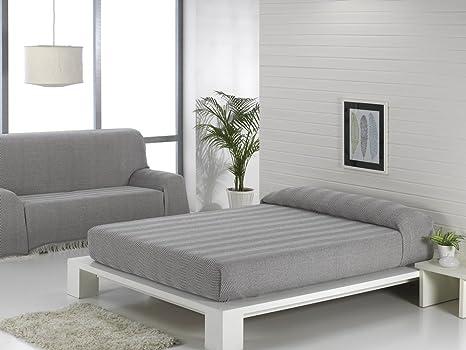 Texturas VIP - Colcha Multiusos ZIG-Zag Sofá y Cama Low Cost (Varios tamaños Disponibles) (180_x_220_cm, Gris-Negro)