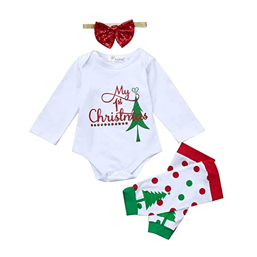 77ffc7e46c1 3Pcs Outfit My First Christmas Baby Girl Boy Long Sleeve Rompers with Xmas  Leg Warmer Bow