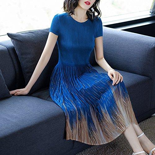 Robes Femmes Nouvelles 2018 mi Une lgant l'usure imprim Robe blue Longue MiGMV Jupe de Robe l't de Tnw58