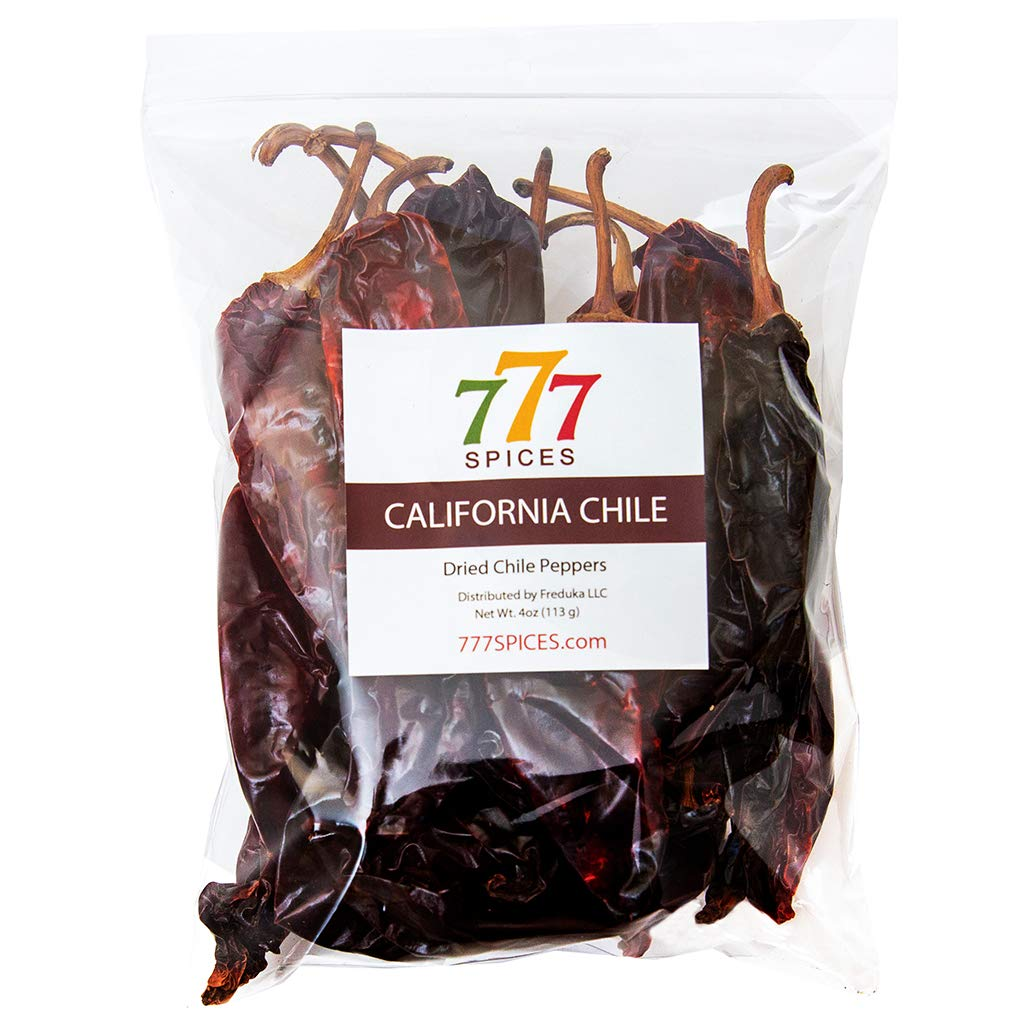 4oz California Dried Whole Chilies Peppers, Natural Dehydrated Anaheim Chile Pods for Authentic Mexican Food, Heat-Sealed Resealable Bag