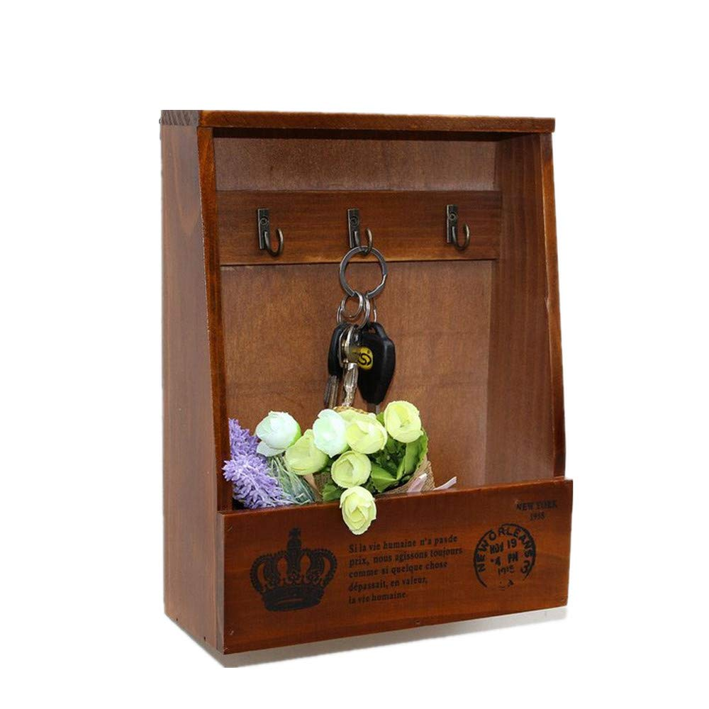Leoyoubei Mail, Letter Holder, Decorative Flowerpot, Key Holder Organizer Entrance, Kitchen, Office - Wall-Mounted, Hanging Mail Frame, a Storage Basket and 3 Key Hooks.Brown
