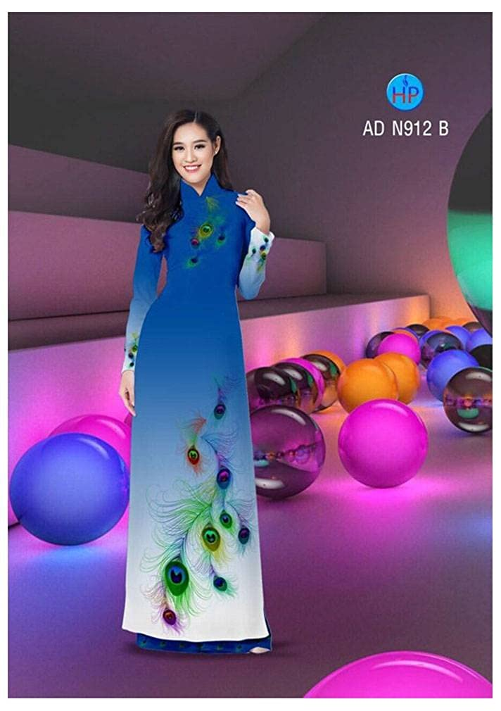 Traditional Vietnamese Long Dress Collections with Pants All Size Silk 3D ADVN00609 Ao Dai