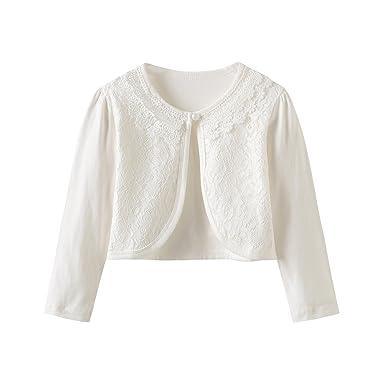 81186fadccac CHENXIN Girls Shrug Knit Long Short Sleeve Lace Bolero Cardigan ...